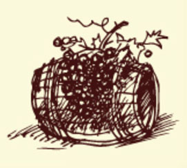 hand drawing of grapes on a wine barrell